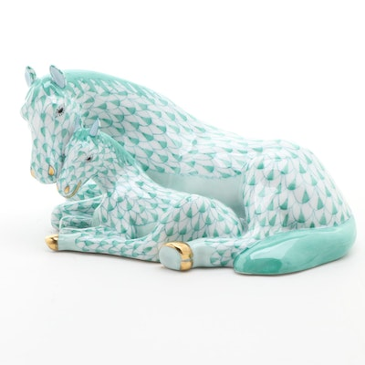 "Herend Green Fishnet with Gold ""Mare with Foal"" Porcelain Figurine, April 1997"