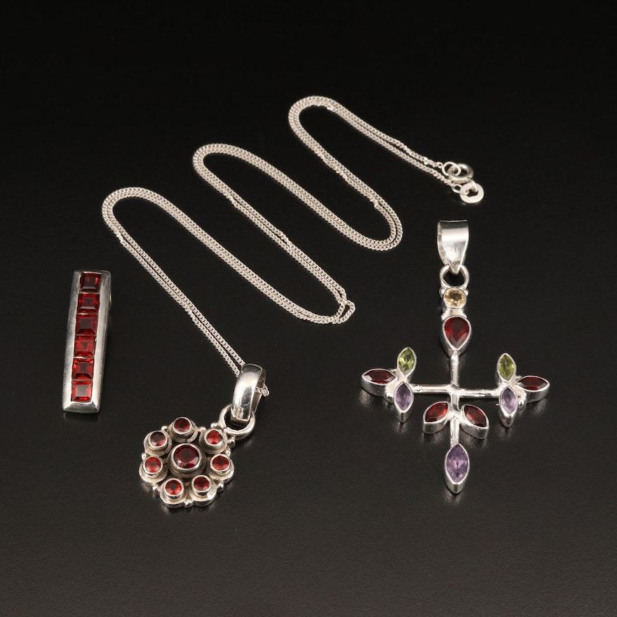 Sterling Necklace and Pendants Including Cross, Garnet, Amethyst and Peridot