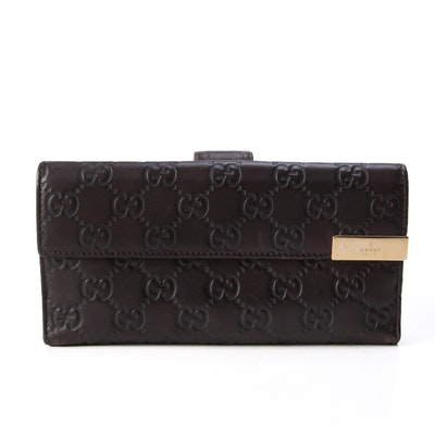 Gucci Original GG Continental Wallet in Dark Brown Guccissima Leather