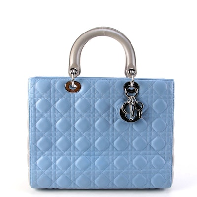 Modified Christian Dior Bicolor Cannage Quilted Leather Lady Dior Bag