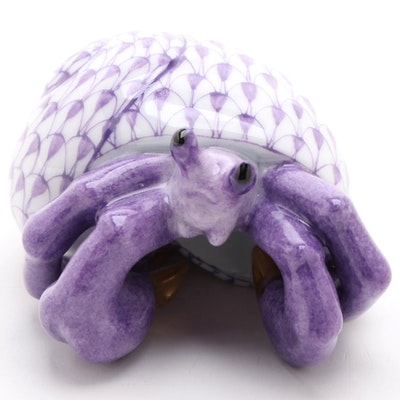 "Herend Lavender Fishnet with Gold ""Hermit Crab"" Porcelain Figurine"