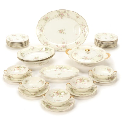 "Theodore Haviland New York ""Rosalinde"" Porcelain Tableware, Mid-20th C."
