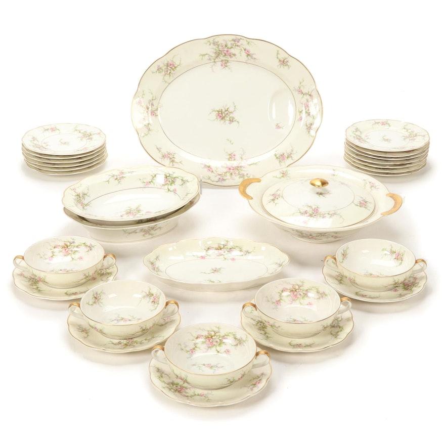 "Theodore Haviland New York ""Rosalinde"" Porcelain Tableware, Mid-20th C."