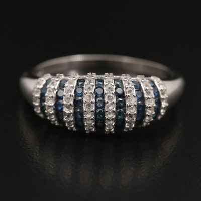 Sterling Silver Sapphire Striped Dome Ring