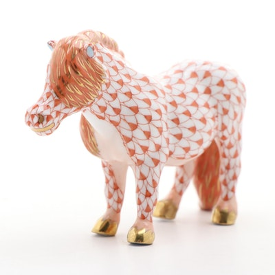 "Herend Rust Fishnet with Gold ""Shetland Pony"" Porcelain Figurine"