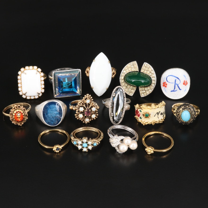 Vintage Rings Including Hematite, Glass and Faux Pearl