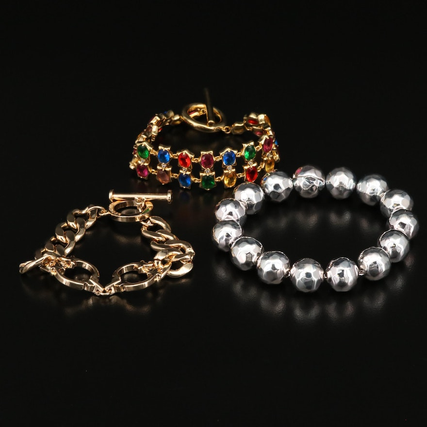 Costume Jewelry Bracelets with Glass and Cubic Zirconia