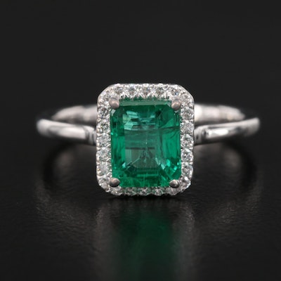 14K 1.72 CT Emerald and Diamond Halo Ring with GIA Report