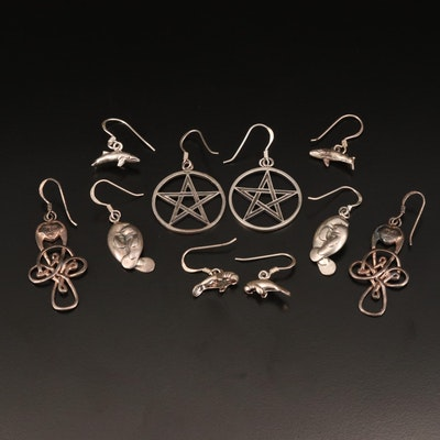 Sterling Earrings Including Celtic Style Knot, Star, Manatee, Whale and More