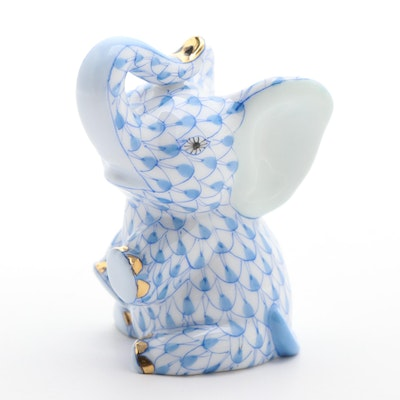 "Herend Blue Fishnet with Gold ""Baby Elephant"" Porcelain Figurine, 1999"