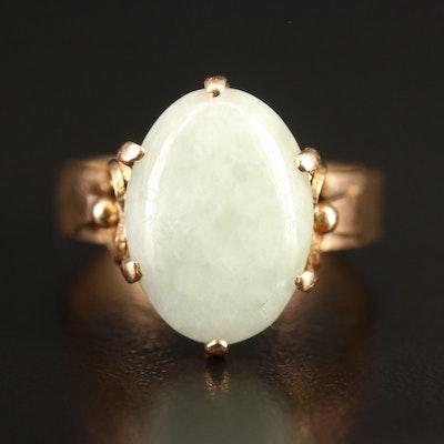 14K Jadeite Cabochon Ring