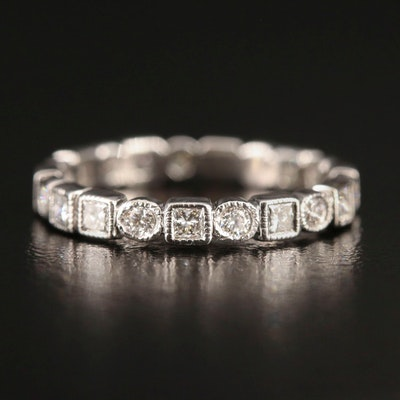18K Diamond Geometric Eternity Band