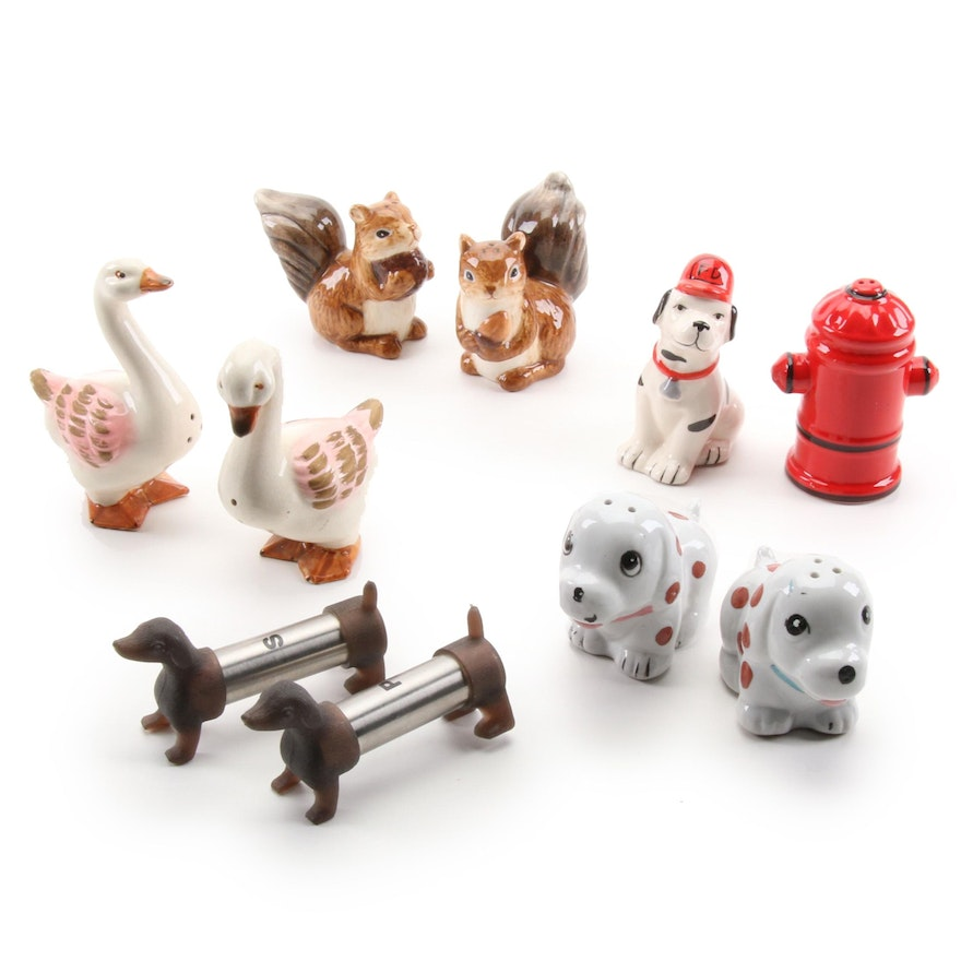 Novelty Ceramic Animal Salt and Pepper Shakers, Mid to Late 20th C.