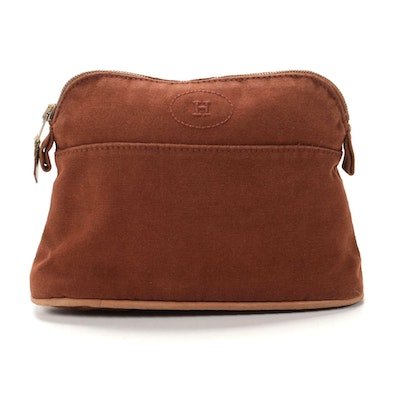 Hermès Bolide Travel Pouch in Brown Cotton Canvas and Leather Trim