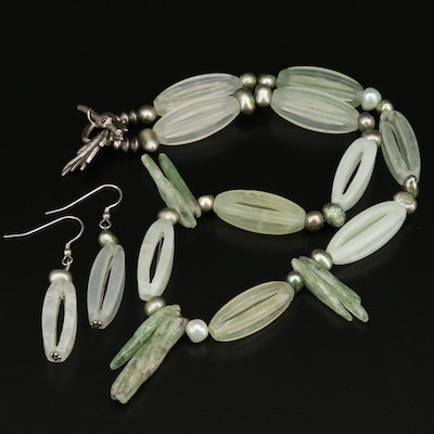 Open Serpentine Beaded Necklace and Earrings Set with Sterling Clasp