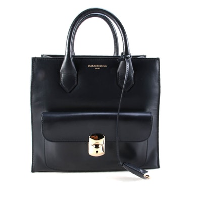 Balenciaga Padlock All Afternoon Navy Leather Two-Way Tote