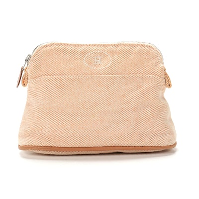 Hermès Bolide Travel Pouch in Orange/White Cotton Toile Canvas and Leather Trim
