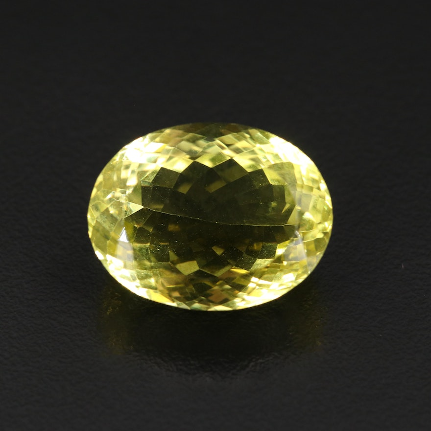 Loose 38.94 CT Oval Faceted Citrine