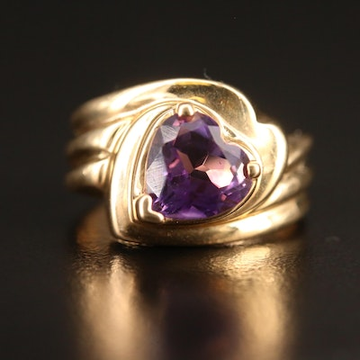 10K Amethyst Heart Shaped Solitaire Ring