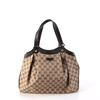 Gucci Pleated GG Canvas and Brown Leather Shoulder Bag