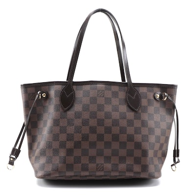 Louis Vuitton Keepall PM Tote in Damier Ebene Canvas and Brown Leather Trim