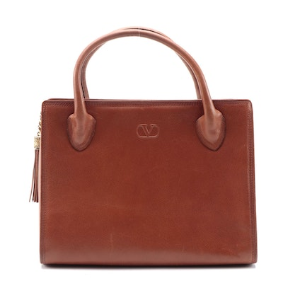 Valentino Garavani Brown Leather Top Handle Bag