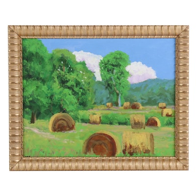 Kenneth R. Burnside Oil Painting of Hay Bales in Field, 21st Century