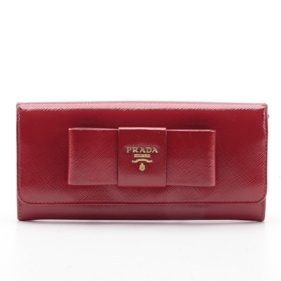 Prada Peonia Saffiano Leather Continental Bow Wallet