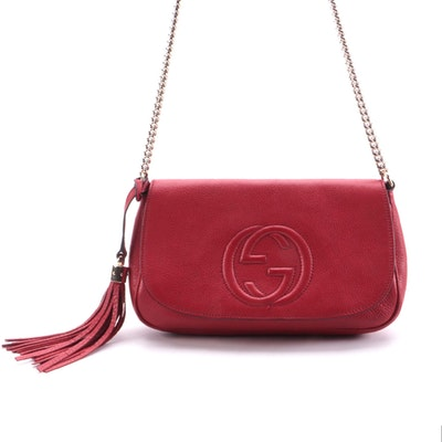 Gucci Soho Chain Crossbody in Red Grained Leather with Tassel