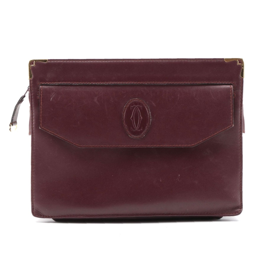 Cartier Burgundy Leather Clutch