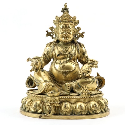 Tibetan Gilt Bronze Bodhisattva Jambhala Deity of Wealth Statue, 20th Century