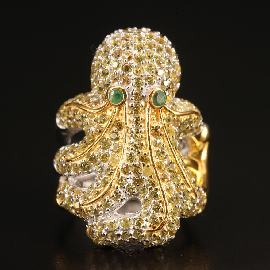 Sterling Silver Sapphire and Emerald Octopus Ring