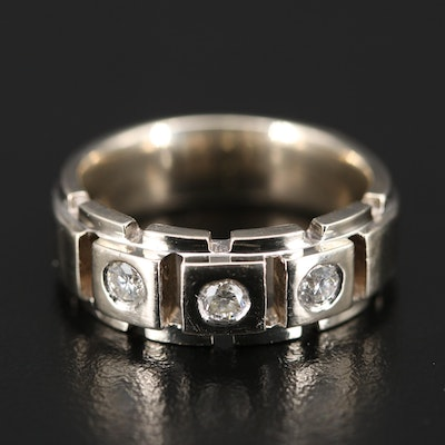 14K White Gold Diamond Three Stone Band