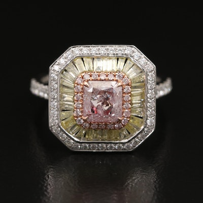 18K 1.90 CTW Diamond Triple Halo Ring with GIA Report