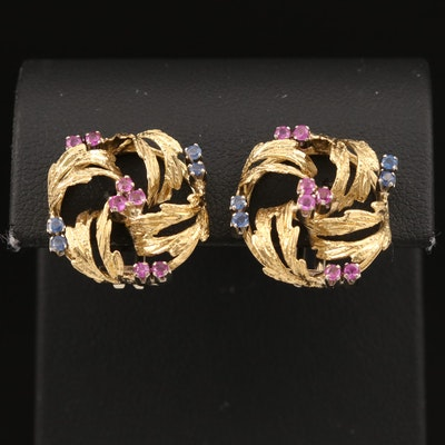 Lunati 18K Ruby and Sapphire Knot Clip Earrings