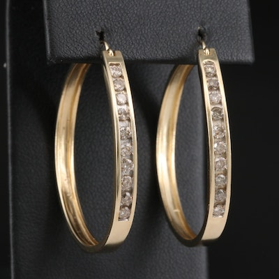 10K 1.00 CTW Diamond Hoop Earrings with 14K Accents