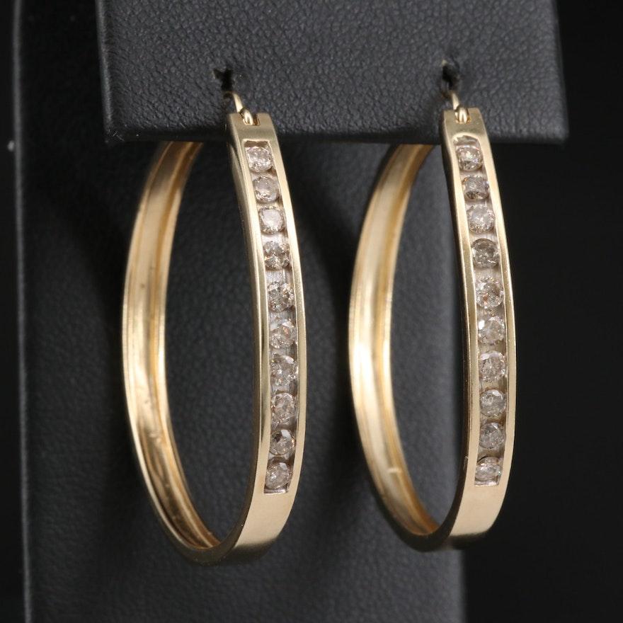 10K 1.00 CTW Diamond Hoop Earrings with 14K Accents