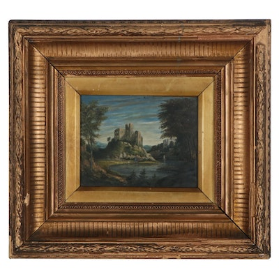 Miniature Castle Landscape Oil Painting, Late 19th Century