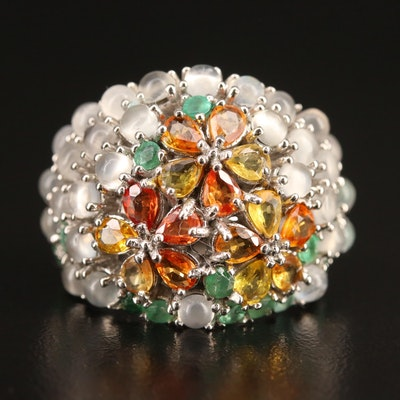 Sterling Silver Sapphire, Emerald and Moonstone Flower Ring