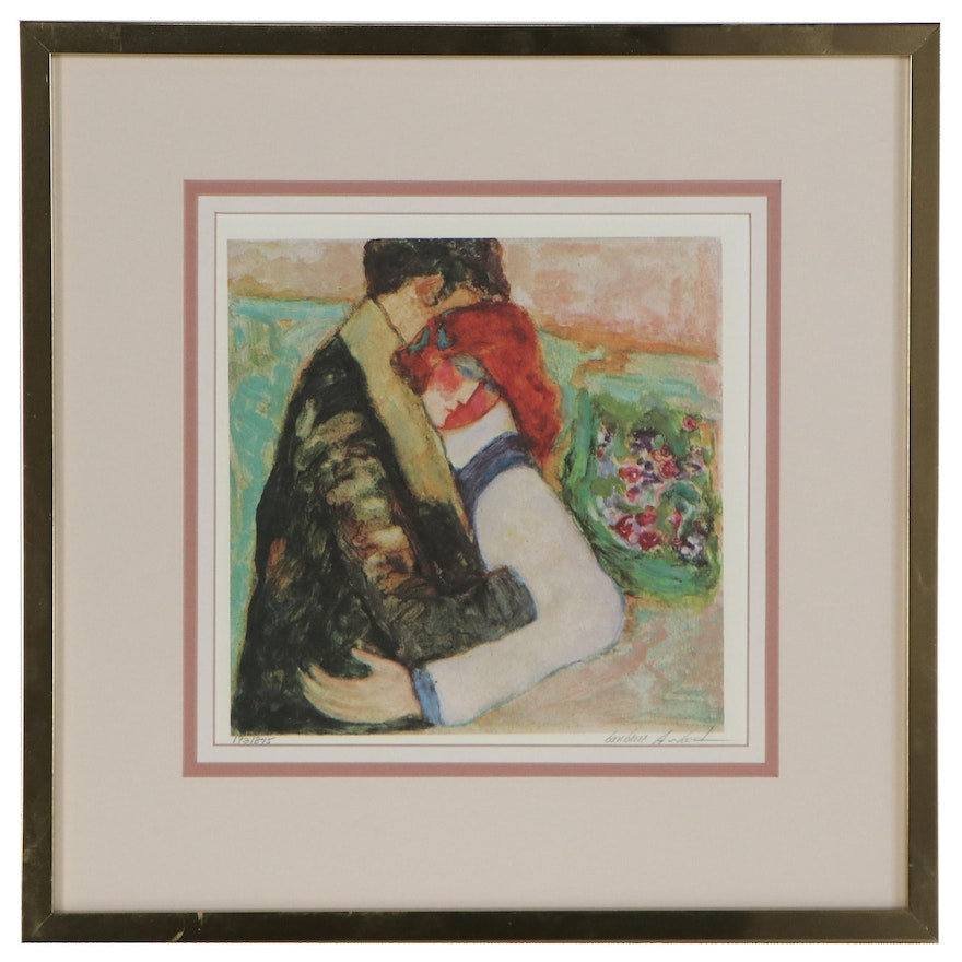 Barbara A. Wood Offset Lithograph of Embracing Couple