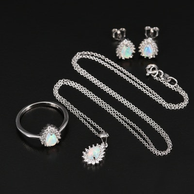 Sterling Opal and Cubic Zirconia Ring, Necklace and Earring Set