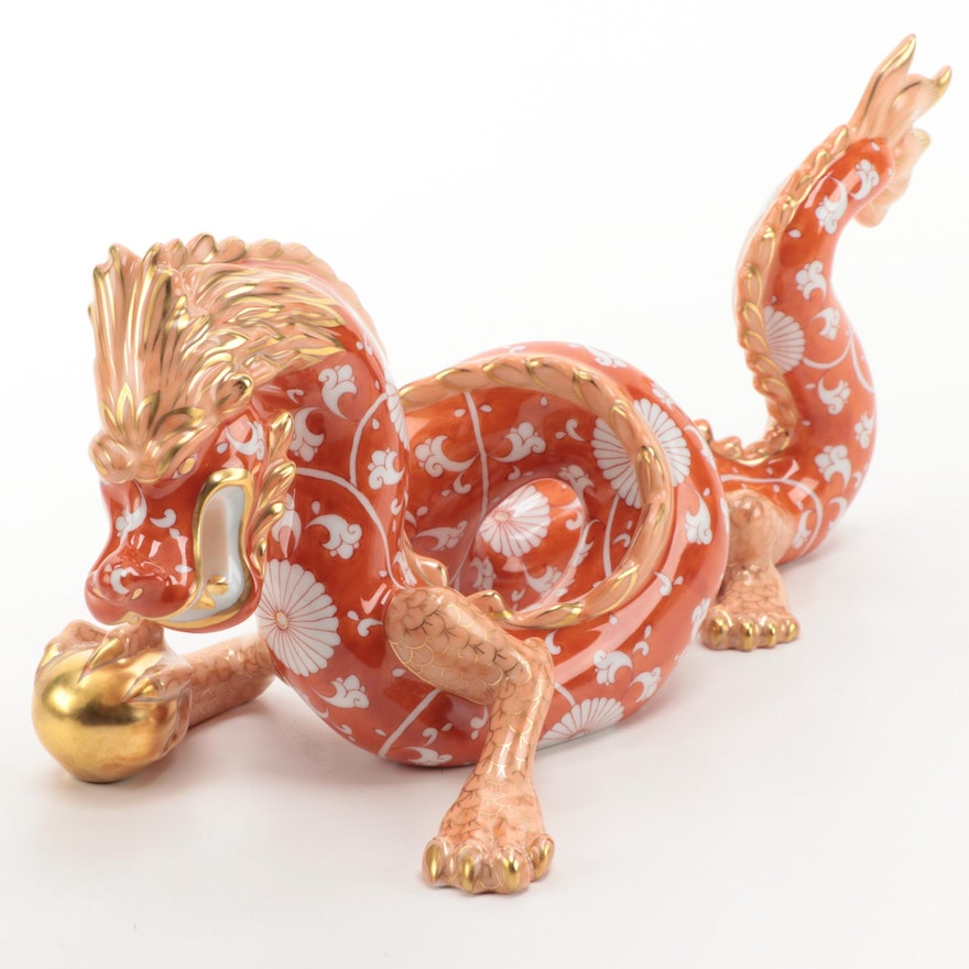 "Herend Orange Chrysanthemum Limited Edition ""Dragon"" Porcelain Figurine"