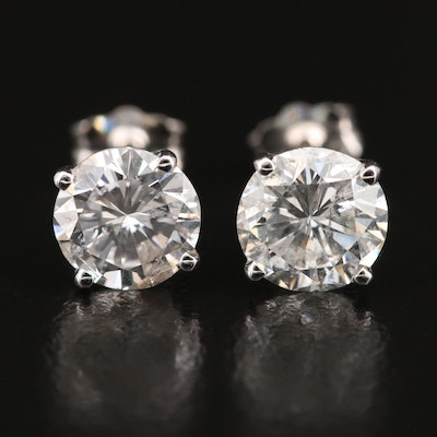 18K 2.23 CTW Diamond Stud Earrings with GIA eReport