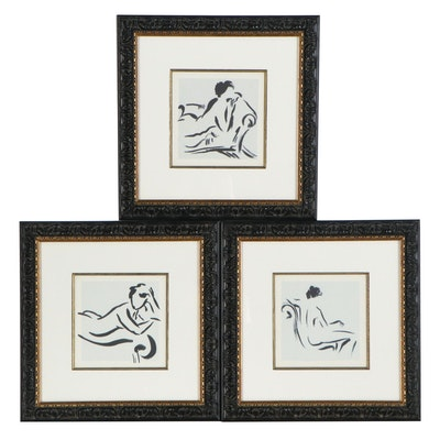 """Offset Lithographs of Nudes after Cheryl Roberts """"Figure Study,"""" 21st Century"""