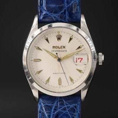 1953 Rolex Oysterdate Honeycomb Dial Stainless Steel Stem Wind Wristwatch