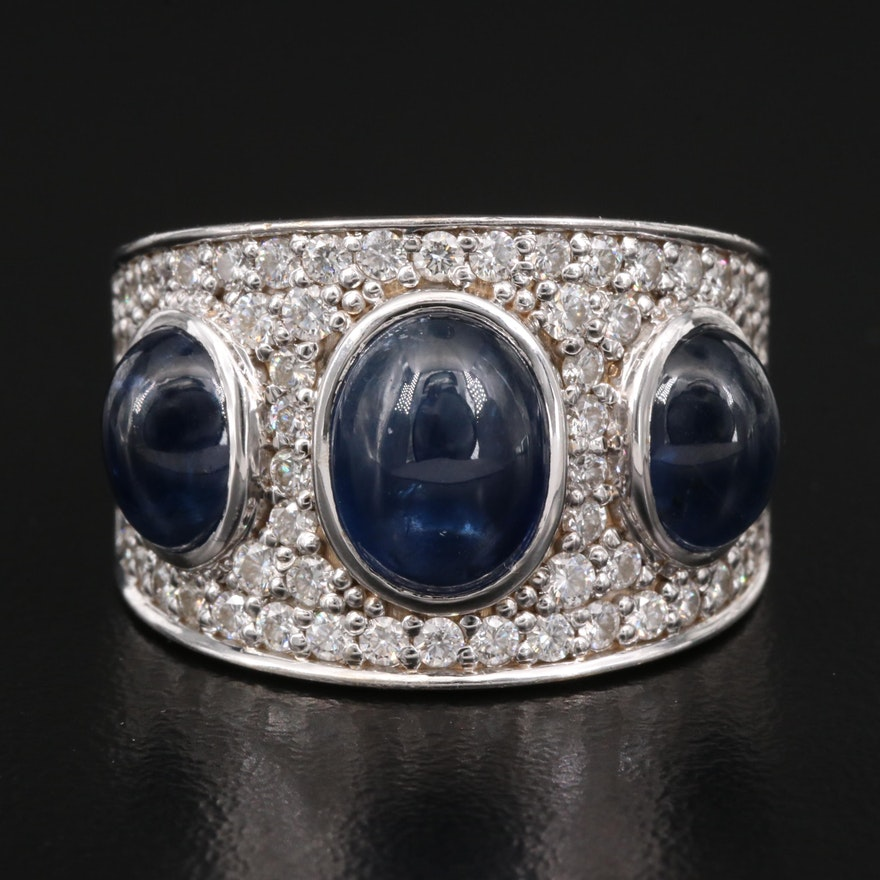 18K 2.00 CTW Diamond and Sapphire Pavé Ring