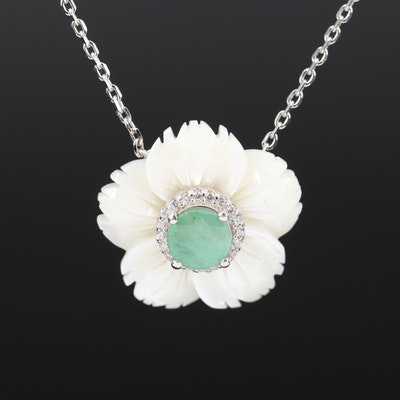 Sterling Mother of Pearl, Beryl and Cubic Zirconia Flower Necklace