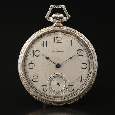 1921 E. Howard 14K White Gold Open Face Pocket Watch