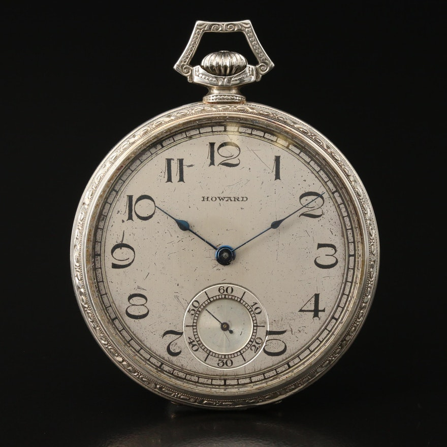 1921 E. Howard 14K White Gold Open Face Pocket Watch