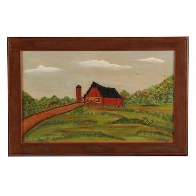 Linda Zonner Acrylic Painting of a Barn, 1985